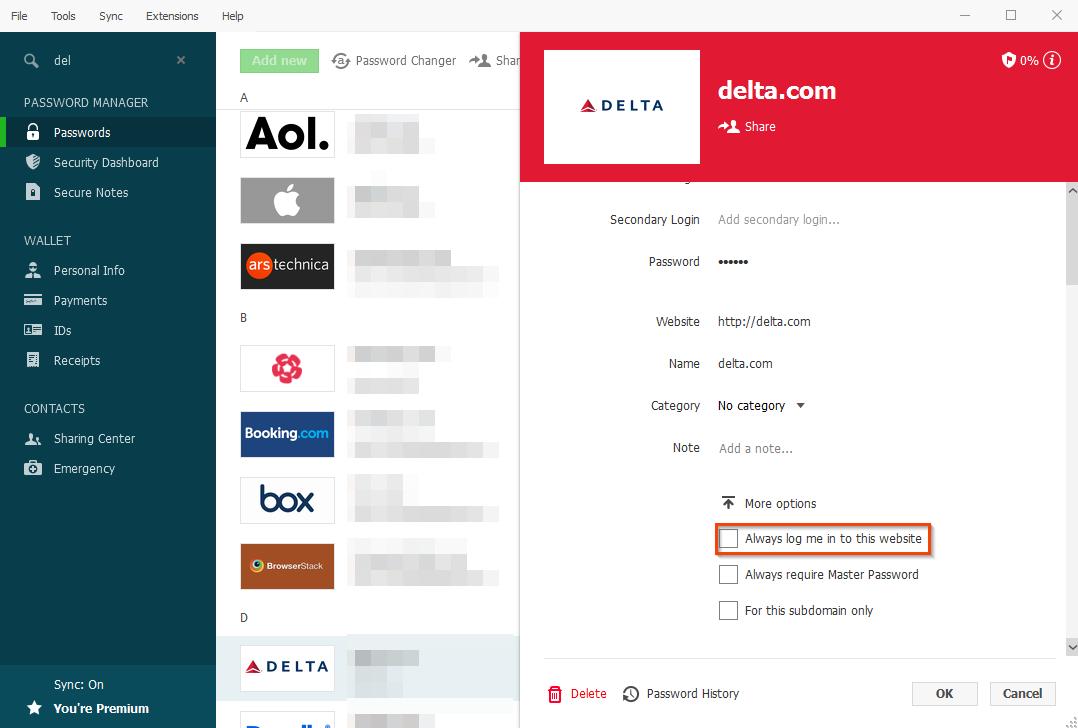 Known workarounds for specific websites – Dashlane