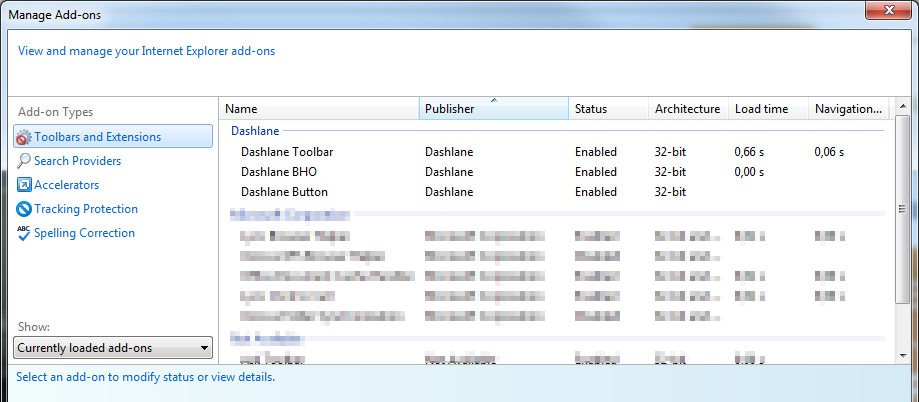 How to check your Dashlane extension in Internet Explorer