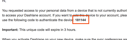 I never received my security code to authenticate a new device